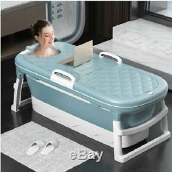 Portable 1.4m/55in Adult /Child Bath Tub Barrel Steaming Plastic Folding Bathtub