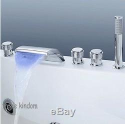 RE LED 5 PCs Chrome Bathtub Deck Mount Waterfall Mixer Taps Shower Faucet Set