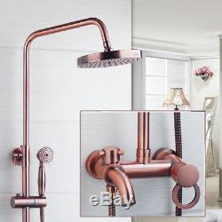 Rainfall Antique Copper Bathroom 8 Shower Head&Hand Shower&Tub Mixer Tap Faucet