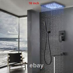 Rainfall Bath Shower Head Faucet Set 16LED Black Hand Spray Tub Spout Mixer Tap