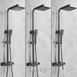 Rainfall Bathroom Bathtub Shower Set Black Thermostatic Mixer Tap Hand Shower UK