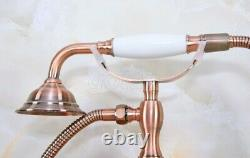 Red Copper Bathroom Wall Mounted Bath Tub Clawfoot Faucet With Handheld Shower