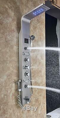 Rozin LED Light Rain Waterfall Shower Panel Bath Mixer Tub Tap Shower Faucet Set