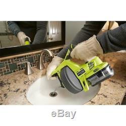 Ryobi 18V Drain Auger Machine Bath Tubs Toilet Snake Plumbing Sinks Pipe Cleaner