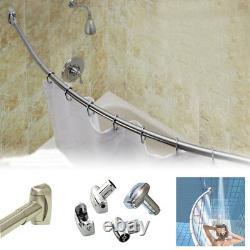 S/s Steel Chrome Extensible Curved Standard Bathtub Shower Curtain Rod Rail