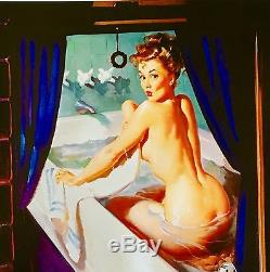 SALE ELVGREN 20x24 Canvas JEEPERS PEEPERS Bathroom Bath Tub Pin-Up Vargas Pinup
