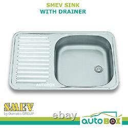 SMEV Sink with Drainer 590X370 Caravan Motorhome Camper RV Stainless Steel VA936