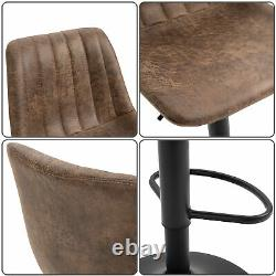 Set Of 2 Microfiber Retro Tub Bar Stools with Metal Frame Footrest Home Seat Brown