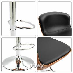 Set Of 2 PU Leather Rounded Tub Bar Stools Adjustable Height with Footrest Black