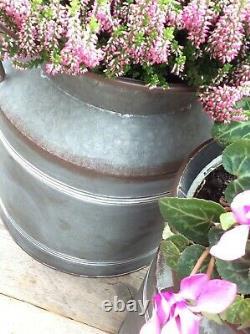 Set of 2 Vintage Style Metal Milk Churn Urn Garden Planter Flower Pots Tubs