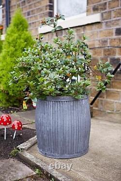 Set x 3 Dolly Tub Planters Galvanized Metal Garden Flower Planter Pots Pot Box