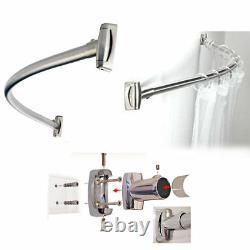 Shower Curtain Rod Rail / Chrome Stainless Steel Curved Oval Bath Tub Adjustable