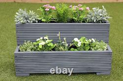 Small Wooden Garden Step Planter Trough Two Tier Veg Bed In Cuprinol Grey