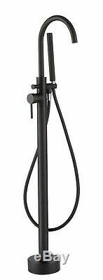 Solid Black Floor Mounted Tub Filler Faucet Free Standing Bath Shower Mixer