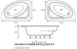Space Saving Corner Bath Tub Right Left Hand 1500 x 1000mm Acrylic Front Panel