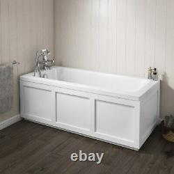 Straight White 1600mm Bath Single Ended Square Bathroom Tub 4mm Cast Acrylic
