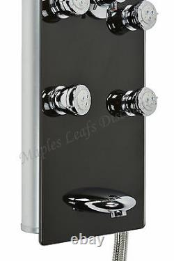 Thermostatic Aluminum Shower Head Panel Tower Tub Spout 8 Body Massage Jets Spa