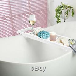 Tidy Tray Bathroom Rack Bamboo Wood Tub Bath Storage Shelf White Caddy Organiser