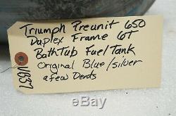 Triumph PREUNIT 650 DUPLEX FRAME 6T BATHTUB FUEL TANK ORIGINAL PAINT /VB37