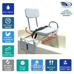 Tub Mount Swivel Sliding Bath Transfer Bench Heavy Duty Shower Bathtub Chair
