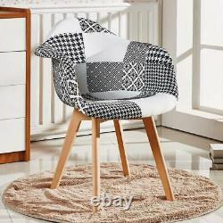 Tulip Chrono Patchwork Monochrome TUB Fabric Dining Arm Chair Seat Vintage Retro