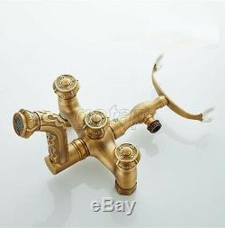 Vintage Antique Brass Wall Mounted ClawFoot Bath Tub Faucet With Handheld Shower