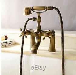 Vintage Retro Antique Brass Bathroom Clawfoot Bath Tub Faucet Hand Shower taps