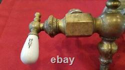 Vtg Claw Foot Bath Tub Faucet Deco Fuller Ball Porcelain Hot Cold Brass P