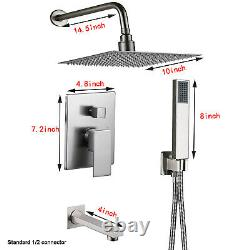 Wall Mount 3 Functions Shower Faucet System Set 10Rainfall Head With Mixing Valve
