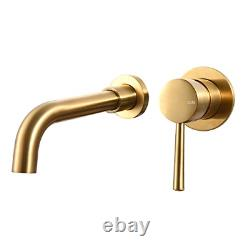 Wall Mounted Bathroom Basin Tap with Spout Bathtub Mixer Set- Brushed Brass Gold