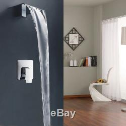 Wall Mounted Bathroom Sink Bathtub Waterfall Wide Spout Faucet Mixer Tap Chrome