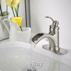 Waterfall Bathroom Faucet Brushed Nickel Single Handle Bath Tub Lavatory Vanity
