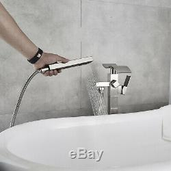 Waterfall Bathroom Free Standing Bath Tub Faucet Floor Mount Tub Filler Hand