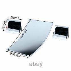 Waterfall Bathtub Basin Sink Spout Mixer Tap Chrome 3PCS Faucet Set Wall Mount
