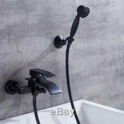 Waterfall Black Bathroom Wall Mounted Bath Tub Shower Mixer Faucet Taps Kit