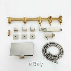 Waterfall Wall Mount Tub Filler Bath Faucet With Hand Shower Brushed Nickel Tap
