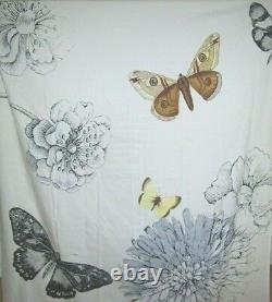 West elm Butterfly shower curtain cotton 74 x 72 grey white