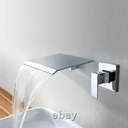 Wide Waterfall Bathroom Shower Tub Basin Faucet Mixer Tap Chrome Wall Mounted