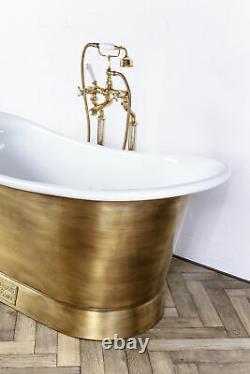 Witt & Berg Copper Bateau Bathtub Antique Brass Exterior / Enamel Interior