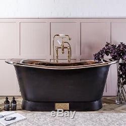 Witt & Berg Copper Bateau Bathtub Charcoal Exterior / Nickel Interior