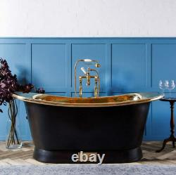 Witt & Berg Copper Bateau Bathtub Charcoal Exterior / Polished Brass Interior
