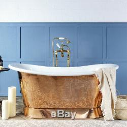 Witt & Berg Copper Bateau Bathtub Copper Exterior / White Enamel Interior